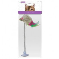 Mouse on Spring with Suction Cup Cat Toy