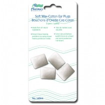 Soft Wax Cotton Ear Plugs ~ 2 pairs