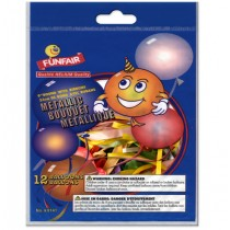 """9"""" Round Balloons - Assorted Metallic Colors w/Ribbons ~ 15 per pack"""