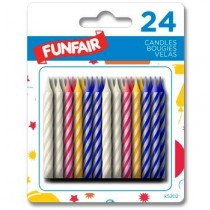 Birthday Candle - Striped Assorted Colors ~ 24 per pack
