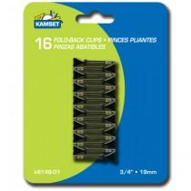 "Mini Black Fold Back Clips - 3/4"" ~ 16 per pack"