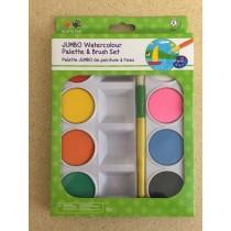 Jumbo Watercolor Paint Set w/Brush