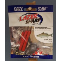 Eagle Claw Weighted Striped Bass Rig w/Red Tubing & 2oz Bell Weight