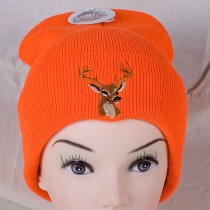 Fluorescent Orange Toque w/Thinsulate Lining & Deer Embroidery