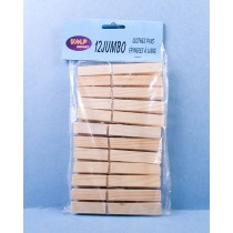 Jumbo Wooden Clothes Pins ~ 12 per pack