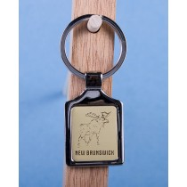 New Brunswick Moose Keychain w/Gold Background