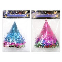 New Year's Party Foil Hats with Tinsel ~ 6 per pack