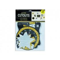 New Year's Glitter Cutout Assortment ~ 9 per pack