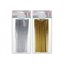 New Year's Gold & Silver Paper Straws ~ 18 per pack
