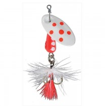 Panther Martin Lure - Size 4 ~ Spotted Fly White Red