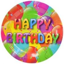 "Paper Plates w/Happy Birthday - 9"" ~ 6 per pack"
