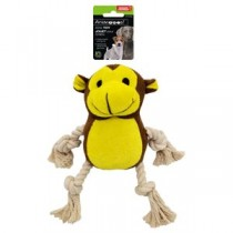 Plush Monkey Dog Toy with Rope Arms & Legs and Squeaker