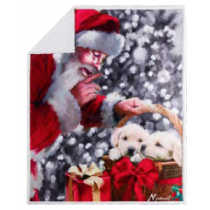 Christmas Photoreal Throws with Sherpa Back ~ Santa's Puppies