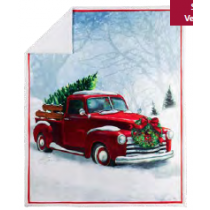 Christmas Photoreal Throws with Sherpa Back ~ Holiday Red Truck