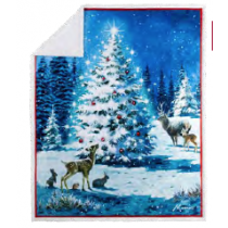 Christmas Photoreal Throws with Sherpa Back ~ Magical Tree