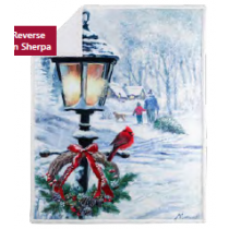 Christmas Photoreal Throws with Sherpa Back ~ Christmas Lantern