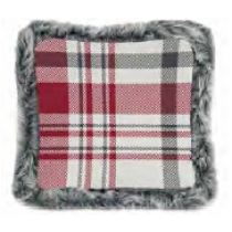 Christmas Printed Cushions with Faux Fur Trim ~ Red Plaid