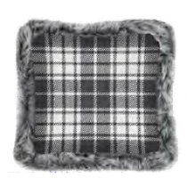 Christmas Printed Cushions with Faux Fur Trim ~ Grey Plaid