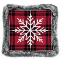 Christmas Printed Cushions with Faux Fur Trim ~ Snowflake Plaid