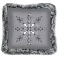 Christmas Printed Cushions with Faux Fur Trim ~ Grey Snowflake