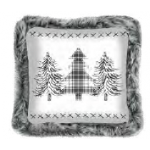 Christmas Printed Cushions with Faux Fur Trim ~ Winter Wonderland