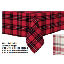 Christmas Printed Fabric Tablecloths - 3 sizes ~ Red Plaid
