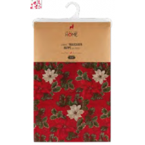 Christmas Printed Fabric Tablecloths - 3 sizes ~ Poinsettia