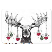 Christmas Photoreal Printed Placemats ~ Festive Moose