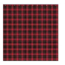 Christmas Water Resistant Shower Curtain with Hooks ~ Red Plaid