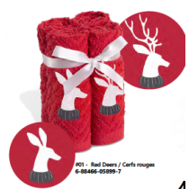 Christmas Embroidered Facecloth Sets - 4 per pack ~ Red Deers