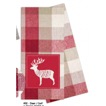 Christmas Printed Kitchen Towels with Decorative Patch - 2 per pack ~ Deer