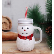 Christmas Snowman Mason Jar Drinkware with Straw ~ 12 per box