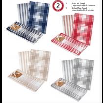 Kitchen Tea Towels - Plaid & Stripe Waffleweave ~ 2 per pack