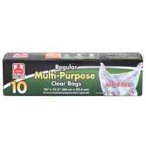 Tuff Guy Multi-Purpose Clear Garbage Bags ~ 10 per box