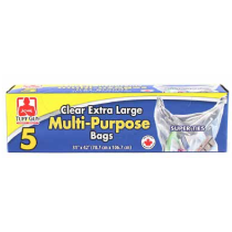 Tuff Guy Extra Large Multi-Purpose Clear Garbage Bags ~ 5 per box