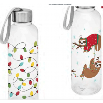 Christmas Plastic Water Bottle with Stainless Steel Cap ~ 550ml / 17.5oz