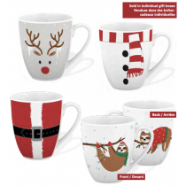 Christmas Porcelain Mugs Gift Boxed - 4 assorted patterns ~ 360ml / 12oz