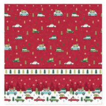 Christmas Water Resistant Shower Curtain with Hooks ~ Christmas Cars