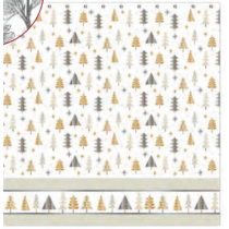 Christmas Water Resistant Shower Curtain with Hooks ~ Metallic Christmas Trees