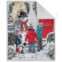 Christmas Photoreal Throws with Sherpa Back ~ Snowman & Children