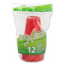 Plastic Red Beer Cups - 16oz ~ 12 per pack