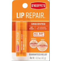 O'Keeffe's Lip Repair Unscented Lip Balm - 4.2gr stick~ 24 per gravity display