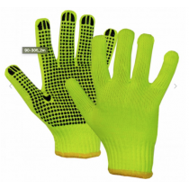 Yellow High Vis Knit Polyester Gloves with PVC Dots ~ sold by the dozens only