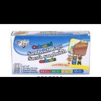 "Chef Elite Colored Zipper Sandwich Bags - 6.5"" x 6"" ~ 60 per box"