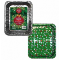 Chef Elite Holiday Cake Pan ~ Rectangle/Green & Holly Design