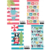 Cats & Dogs Printed Beach Towels ~ 4 assorted