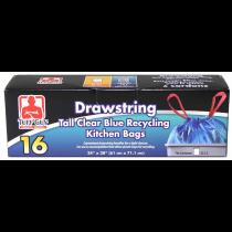 Tuff Guy DrawstringTall Blue Recycling Bags ~ 16 per box