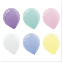 "Assorted Pastel Round Balloons - 12"" ~ 15 per pack"
