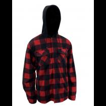 Red Plaid Polar Fleece Shirt with Sherpa Lining & Hood