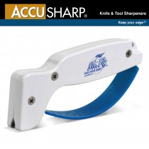 AccuSharp Knife & Tool Sharpener ~ White w/Blue Finger Guard